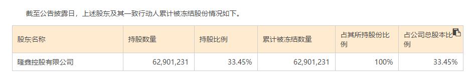 隆鑫系所持丰华股份全部被司法冻结 期限为3年